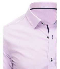 057b945aeb54 Biela pánska košela s drobným kockovaným vzorom a dlhými rukávmi