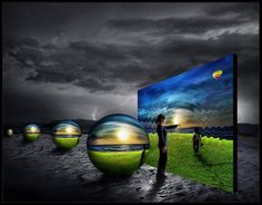 photo manipulated image comprising of 6 images (girl, spheres+colour image, sky, lightning, sandy ground) Amsterdam, When You Were Young, Political Leaders, Question Everything, Nikola Tesla, Colour Images, The Magicians, Family Travel, Illusions