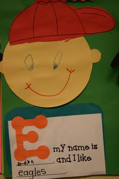 Mrs. Lee... die cut the head and letter. After coloring students writes their name and adult writes what they like starting with the same letter.