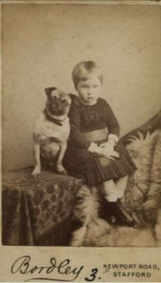 Pug and girl old photo Pug Photos, Pug Pictures, Vintage Pictures, Vintage Images, Animals And Pets, Cute Animals, Old Pug, Pug Puppies, Terrier Puppies