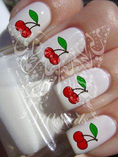 Nail Art Cherries Nail Water Decals Transfers Wraps