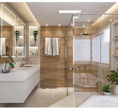 """2,250 curtidas, 13 comentários - Eilson Ramos   Hillary Pereira (@tendenciaarquitetura) no Instagram: """"Um banheiro de casal para inspirar vocês!!!! 🤗 lindo né? ⠀ Projeto por: @marilia.arq + inspirações…"""" Laundry Room Bathroom, Bathroom Plants, Ensuite Bathrooms, Bathroom Kids, Bathroom Renovations, Modern Master Bathroom, Simple Bathroom, Bad Inspiration, Bathroom Inspiration"""
