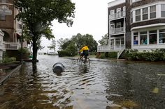 Photo               Stevie Green rode a bike on the flooded streets of Manteo, N.C., on Saturday after a tropical storm passed through.                                      Credit             Tom Copeland/Associated Press                       The powerful post-tropical cyclone Hermine lurked...