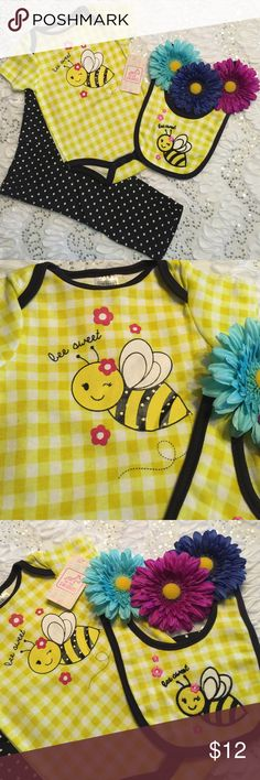 Baby girl three piece set by Swiggles Yellow and Black baby girls 3 piece set with the words bee sweet on the romper and bib Swiggles Matching Sets