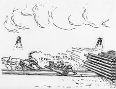 Drawing by Jacques Rossi of workers pushing logs. Courtesy of Regina Gorzkowski-Rossi.