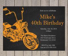 Motorcycle Adult Birthday Invitation Birthday by VividLaneDesigns