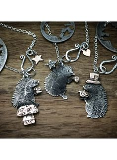 Handmade, upcycled, sterling silver, hedgehog necklace
