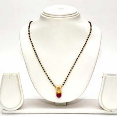 Anvi's black beads chain with cz stone jhumka as pendent (18 inches) - Online Shopping for Necklaces by Anvi Collections