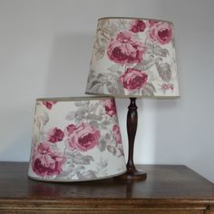 "Laura Ashley Roses Cassis 13.5"" Handmade Oval Lampshade Table Lamp"
