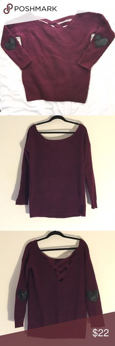 2b Bebe Purple Knit Sweater w/ 🖤 Elbow Patches This2b Bebe sweater is so cute! Good condition with some pilling throughout. Stylish crisscross back detailing and adorable faux leather heart elbow patches. Looser oversized fit. 100% acrylic exclusive of decoration. bebe Sweaters Crew & Scoop Necks