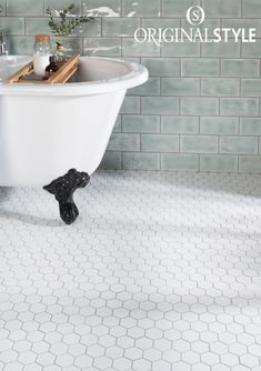 Large White Hexagon mosaics are a simple and classic choice of floor tile for both modern bathrooms and traditional bathrooms. White Mosaic Bathroom, Hexagon Tile Bathroom Floor, White Bathroom Interior, Bathroom Flooring, Small Bathroom, Tile Floor, Modern Bathrooms, Bathroom Ideas, Tile Bathrooms