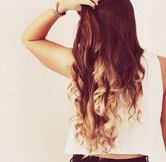 Dark brown messy curls with bleach blonde dip dyed