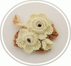 Crochet Brooch  Ivory Rose Brooch  Corsage by CraftsbySigita