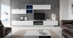 Mueble de salón moderno blanco. Composiciones apilables para muebles modernos de salón en Európolis. Totalmente personalizables en medidas, módulos y acabados.