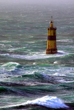 Lighthouses of Iroise.  Tourelle de la Plate  Strait  of  Raz de Sein,  Finistère,    Brittany