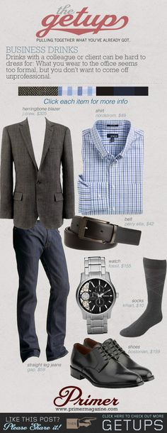 The Primer recommended #Bostonian shoes for business drinks attire. Like this outfit!!
