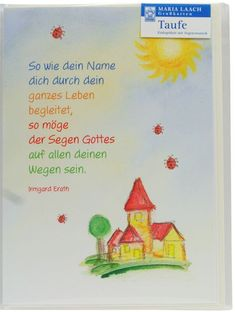 Greeting card for baptism Double card with light yellow envelope Format: 12 x 17 cm Depiction: Church, sun, ladybug Theme: Bernadette Höcker Text: Irmgard Erath Lot of inside . Country Baby Names, Baby Girl Names, Boy Names, Baby Boy, Baptism Cards, Writing Words, Kids Sleep, Child Sleep, Baby Sleep
