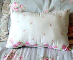This shabby chic inspired pink and white embroidered pillow would make a lovely accent for your cozy cottage style bedroom. Shabby Chic Pillows, Shabby Chic Pink, Floral Pillows, Shabby Chic Cottage, Shabby Chic Homes, Shabby Chic Furniture, Shabby Chic Decor, Cozy Cottage, Chic Bedding