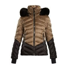 Toni Sailer Iris fur-trimmed bi-colour technical ski jacket ($1,498) ❤ liked on Polyvore featuring outerwear, jackets, brown multi, brown jacket, ski jackets, quilted jacket, brown quilted jacket and toni sailer