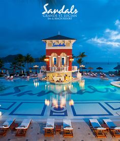 Night view from the main pool at #SandalsGrandeStLucian | Sandals Resorts | St. Lucia