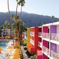 Colorful Saguaro Hotel in Palm Springs.