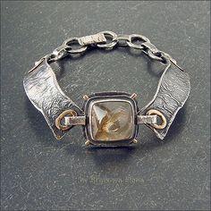 Фактурный браслет с цитрином