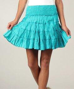 Loving this Turquoise Shirred Peasant Skirt on #zulily! #zulilyfinds