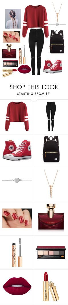 """""""RED 🍎🍓🍉🍅🌶"""" by reka15 on Polyvore featuring Topshop, Converse, Herschel Supply Co., Ginette NY, Bulgari, Charlotte Tilbury, Bobbi Brown Cosmetics and Lime Crime"""