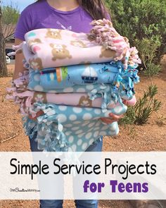 Get kids involved in the community with these simple service projects ideas for teens. Learn how to make a fleece blanket with a step-by-step tutorial.