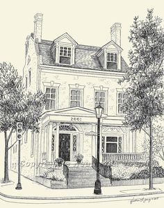 Custom House Portrait Pen & Ink Drawing by theinklab on Etsy