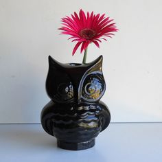 Ceramic Owl Vase Vintage Design Black by fruitflypie on Etsy. $39.99 USD, via Etsy. Lots of other colours available.