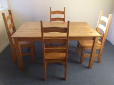 Pine Dining Table and Chairs | Solid pine dining table and 4 high chairs | eBay