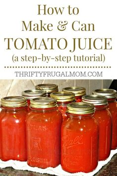 How to Can Homemade Tomato Juice (a step-by-step tutorial) A step-by-step photo tutorial on how to make and can homemade tomato juice. It's easy, plus if you grow your own tomatoes, it's a big money saver too! Homemade Tomato Juice, Canning Tomato Juice, Canning Diced Tomatoes, Tomato Juice Recipes, Homemade Marinara, Jelly Recipes, Spinach Recipes, Chutneys, Ketchup