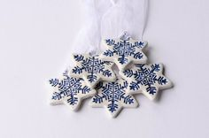 White ceramic Christmas decorations star ornament Set by islaclay