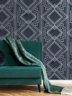 This stylish Delano Geo wallpaper will make a great statement in your home. The design features a matte backdrop in beautiful navy blue tones, with both smooth and softly textured sections creating a natural organic feel. This is overlaid with an Art Deco style geometric pattern with a contrasting metallic silver finish. Easy to apply, this high quality wallpaper would look great as a feature wall or equally good when used to decorate a whole room. Wallpaper Paste, Adhesive Wallpaper, Geometric Wallpaper, Textured Wallpaper, Pastel Colors, Bold Colors, High Quality Wallpapers, Blue Tones, Geometric Designs