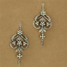 Sterling Silver Seed Pearl & Marcasite Three Flower Chandelier Earrings. (item 3407825) $245.00
