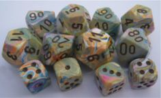 7 Die Set - Festive Vibrant With Brown Vibrant, Dice, Festive, Marble, Collections, Color, Cubes, Colour, Granite