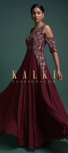Buy Online from the link below. We ship worldwide (Free Shipping over US$100)  Click Anywhere to Tag Maroon Indowestern A Line Gown With Cold Shoulder Sleeves And Floral Embroidery Online - Kalki Fashion Maroon indowestern A line gown in georgette.Adorned with zari, zardozi and sequins embroidered floral pattern on the bodice.Designed with cold shoulder sleeves and leaf cut neckline.