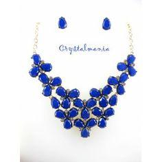 Set de collar y aretes en tono azul rey estilo 3024