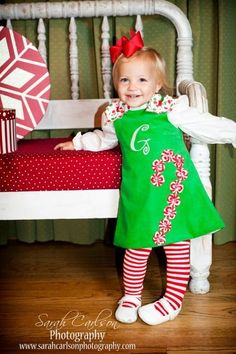 Christmas Candy Cane dress WITH candy cane tights! Christmas Applique, Christmas Sewing, Christmas Crafts, Christmas Candy, Sewing Crafts, Sewing Projects, Sewing Blogs, Toddler Outfits, Kids Outfits