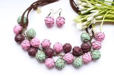 """Beautiful set """"Artichoke"""", pink, green and purple polymer clay necklace and earrings,  free shipping."""