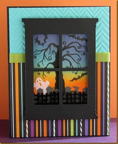 Halloween - Great Impressions tree, Madision Window die; Hero Arts Chevron EF