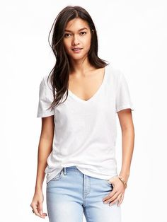 Old Navy Relaxed V-Neck Tee for Women - Petite L