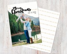 Photo Christmas Card Template: Merry Christmas Brush by deanworks