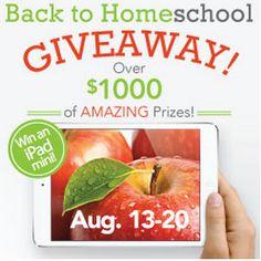 $1,000 Back to Homeschool Giveaway {iPad Mini and More}