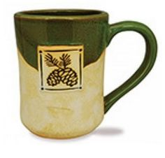 Our Potter's Mugs are beautifully hand-crafted, 16 oz capacity, stoneware, stamped design on front, partial glaze.     Old Forge, NY is printed on the mug      (not shown in picture)