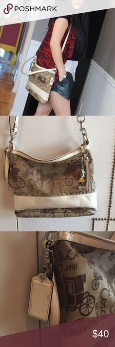 Coach tan cross body bag Great for traveling and shopping.  My house is pet, smoke free. Inside has flaws as you see from photo 4. Coach Bags Crossbody Bags