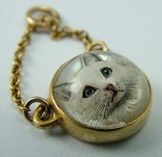 Victorian 18ct Gold Essex Crystal Cat Intaglio Charm