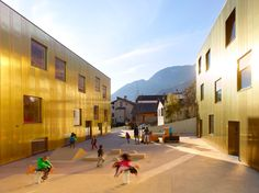 Two buildings are set into the naturally-sloping site.   the first building, to the south, accommodates the pre/post-school childcare unit and the nursery, while to the north, the second building houses the crèche. access is from the ruelle du collège...