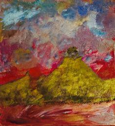 """""""vulcão dourado""""  acrílico sobre tela"""